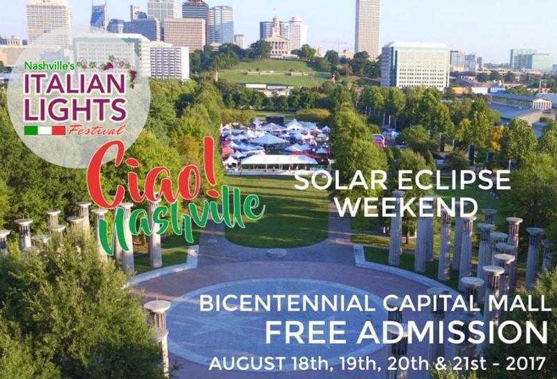 Total Solar Eclipse at Nashville Italian Lights Festival